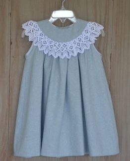 Chambray Linen Float Dress with round collar with Battinburg Lace by Bailey Boys