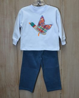 """Light Blue Knit Shirt with Mallard Duck Applique with Steel Blue Corduroy Pants, Set by """"Bailey Boys"""""""