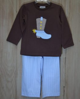 """Brwon knit shirt with cowboy boot applique and light blue gingham pant set by """"True"""""""