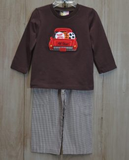 """""""All Star"""" sports appliqued brown knit shirt with brown gingham pants set by """"Banana Split"""""""
