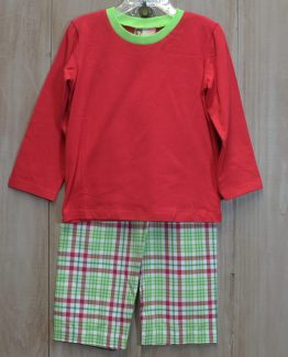 """Green and red Christmas plaid pants with red knit top perfect for monogramming. Can be worn as an outfit or lounge wear. Set by """"Banana Split""""."""