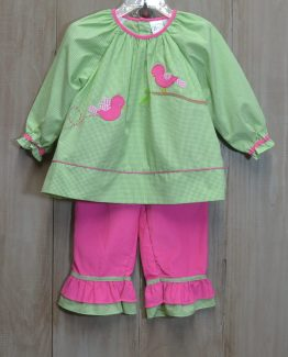 """Bird appliqued green gingham top with hot pink corduroy pants set by """"Zu by Petit Ami""""."""