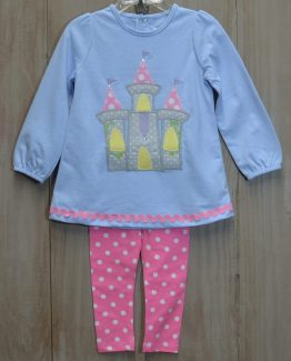 """Light blue knit shirt with gray polka dot castle applique and pink and white polka dot leggings set by """"Bailey Boys"""". Perfect for the princess' next trip to Disney!"""