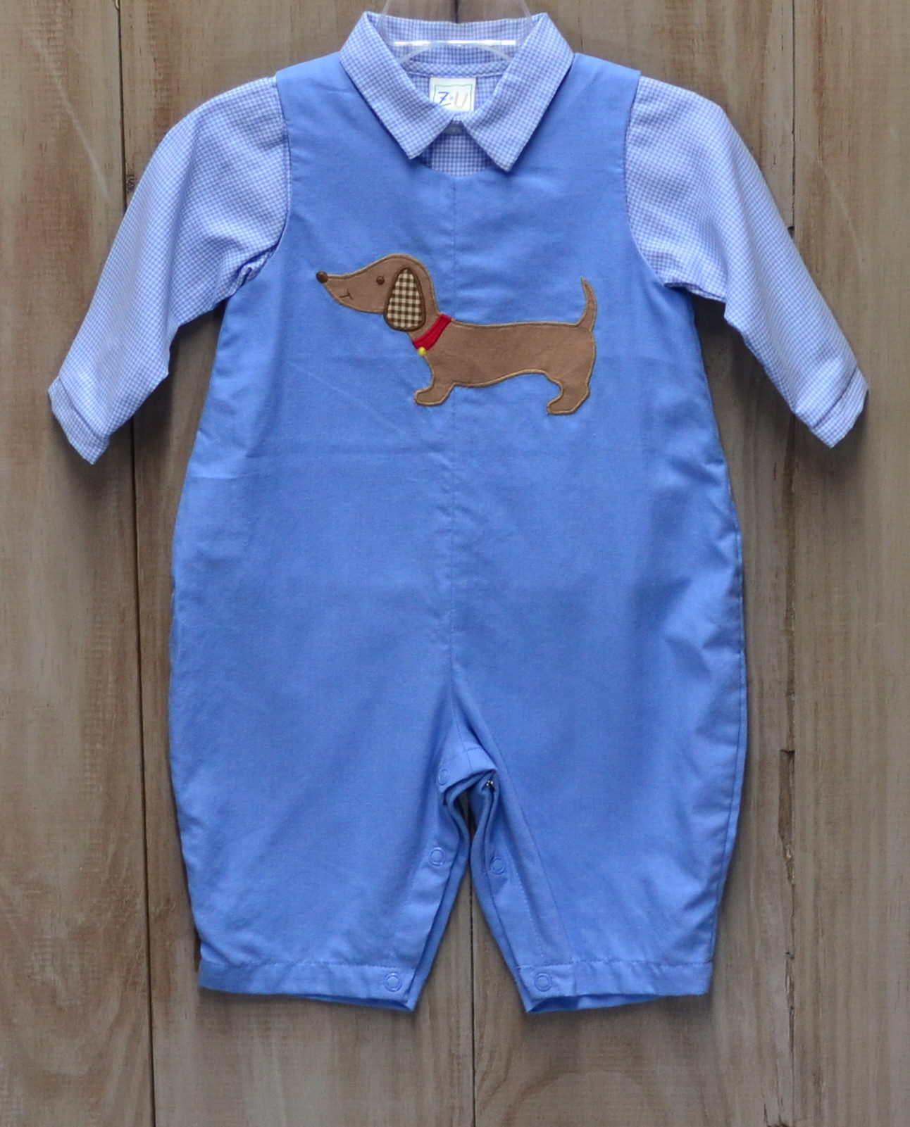 faa14e65f Blue Overall Set With Dog Applique