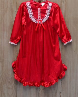 """Red long sleeve nylon gown with white lace by """"Laura Dare for New ICM""""."""