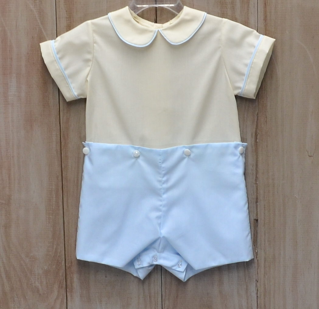 Button-on shortall in Sky Blue Batiste and Beige Batiste.