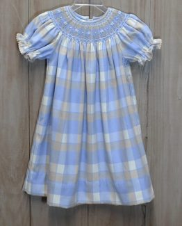 """Blue and tan plaid brushed flannel dress by """"Anavini"""""""