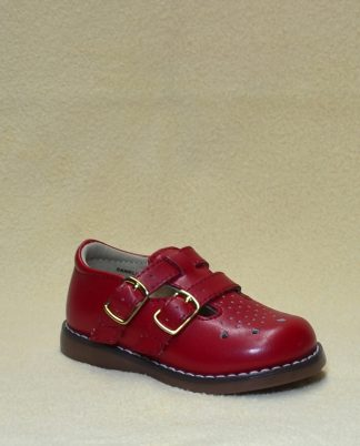 """Red double buckle shoes by """"Footmates""""."""