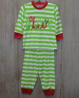 """""""Believe"""" appliqued unisex 100% cotton knit lime green striped lounge wear set by """"True"""""""