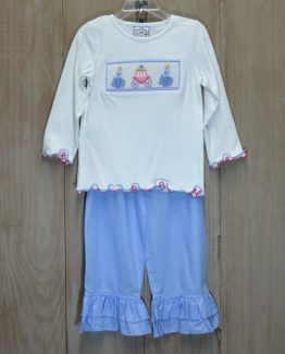"""White knit top picture smocked with Cinderella and her carriage with light blue and white polka dot pants by """"Three Sisters"""""""