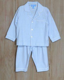 "Light blue gingham 100% cotton flannel lounge wear set by ""Anavini""."