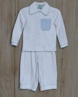 """White 100% cotton knit lounge wear set trimmed in light blue gingham by """"Sweet Potato""""."""