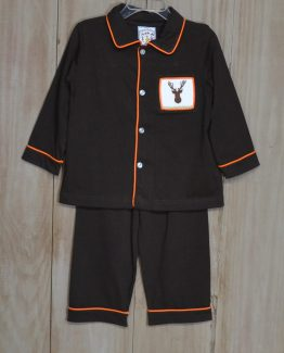 """Brown knit lounge wear set trimmed in orange with a picture smocked moose head by """"Three Sisters""""."""