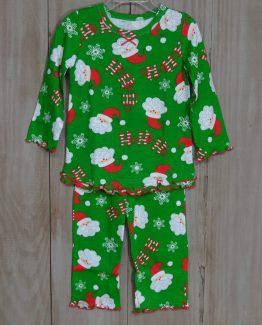 """Green knit Ho Ho Ho Santa pajama with lettuce ruffle on the edges by """"Sara's Prints""""."""