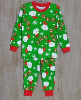 "Green knit Ho Ho Ho Santa pajama for boys or girls by ""Sara's Prints""."