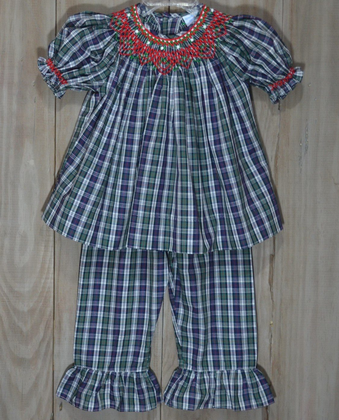 2907e64189c2 Navy and green plaid pants set with red and green smocking. Perfect outfit  to play