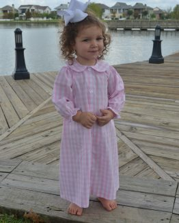 Light pink and white large gingham cotton blend long sleeve gown.