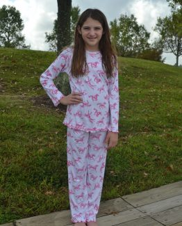 "White and hot pink horse print knit pajama by ""Sara's Prints""."