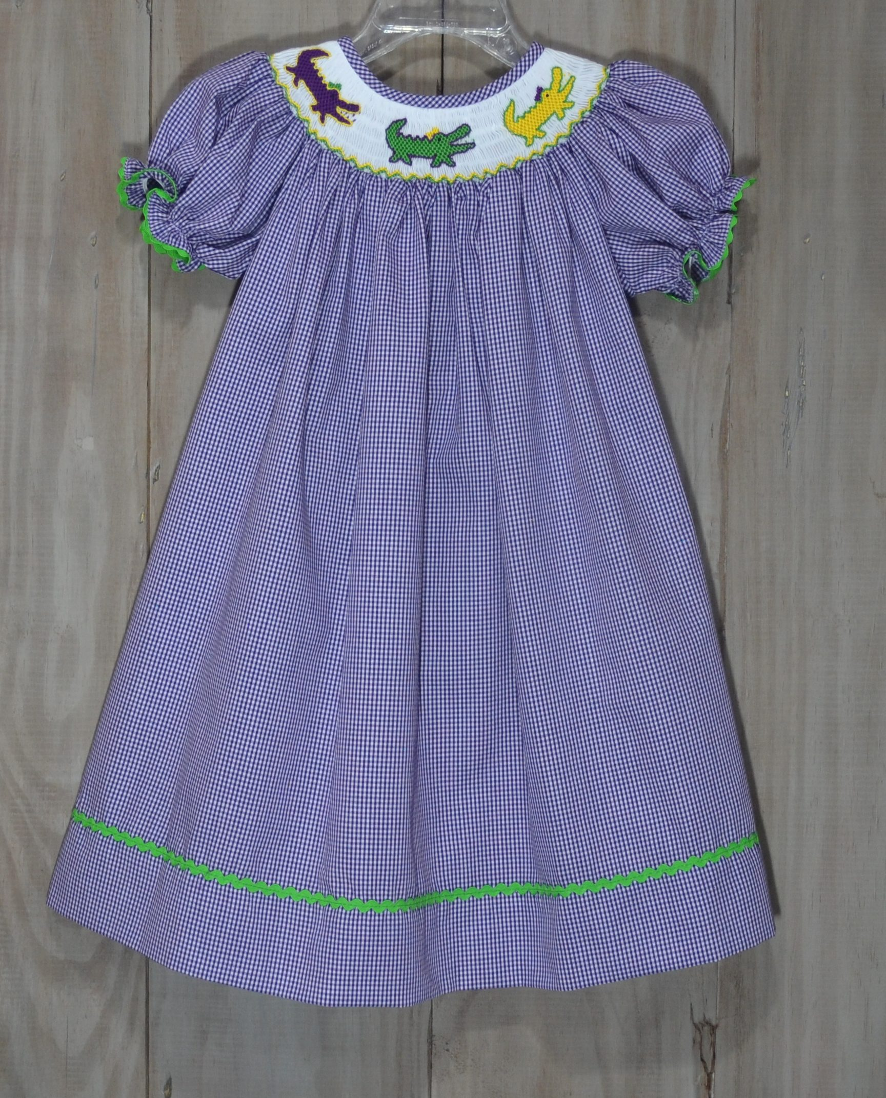 Purple Gingham Bi Dress Smocked With Alligators In The Mardi Gras Colors Of Green