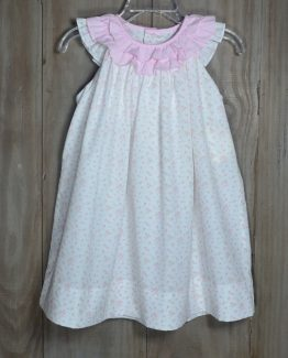 "Tiny pink floral print sundress with a pink gingham ruffled collar. This dress is so sweet, she will look like an Angel in it!!! Comes with a matching bloomer and is by ""Petit Ami""."