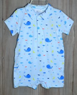 Whale and sailboat print on a light blue knit romper with a collar. The fabric is made from Bamboo and is so soft.