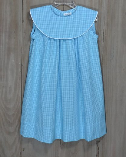 Martha dress in Turquoise Gingham. The round collar is trimmed in white piping and is perfect for monogramming!