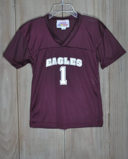 """Maroon mesh football jersey with EAGLES in white by """"Motionwear""""."""