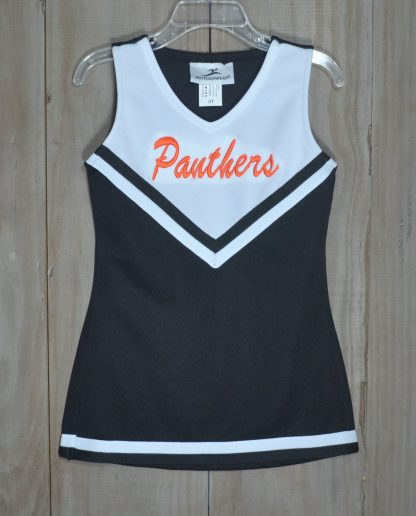 """Panthers cheer dress in black, white, and orange by """"Motionwear""""."""