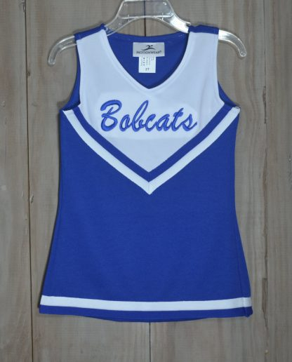 """Cheer dress in royal and white with """"Bobcats"""" embroidered on the front by """"Motionwear""""."""