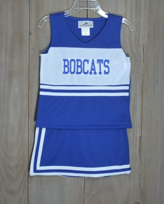 """2 piece cheer skort set in royal and white with """"Bobcats"""" in royal. No need for bloomers, the shorts are sewn in. The set is by """"Motionwear""""."""