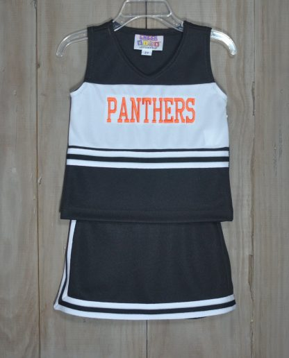 """2 piece cheer skort set in black and white with """"Panthers"""" in orange. No need for bloomers, the shorts are sewn in. The set is by """"Motionwear""""."""