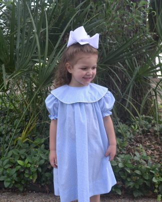 """atsy dress in Light Blue 1/8"""" Gingham with a round collar accented with white piping. Perfect for monogramming!"""