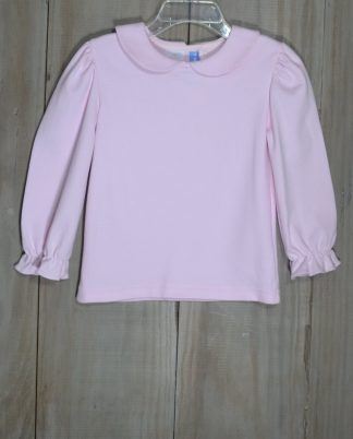 """Light pink knit top that buttons in the back with a peter pan collar by """"Monday's Child""""."""