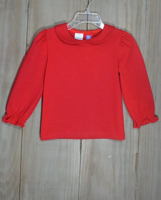 """Red knit long sleeve top that buttons in the back with a peter pan collar by """"Monday's Child""""."""