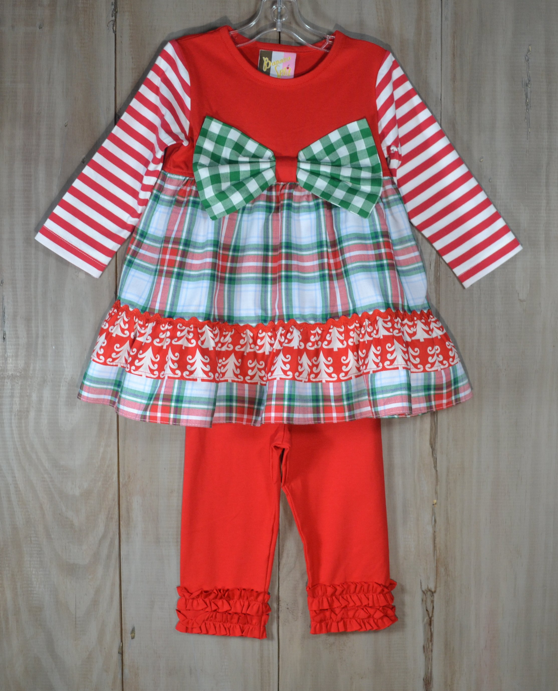 2de5b22796183 Red And Green Plaid Pants Set With Bow