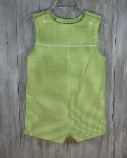 """Our handmade """"Shay"""" Jon Jon in lime green seersucker trimmed in white piping. This sunsuit can be worn year round, just put a shirt underneath on cool days! Great for monogramming!"""