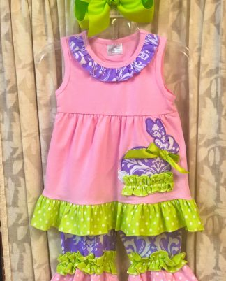 """Pink, white, lavender, and lime green knit capri set with a sweet bunny applique' by """"Unique Baby""""."""