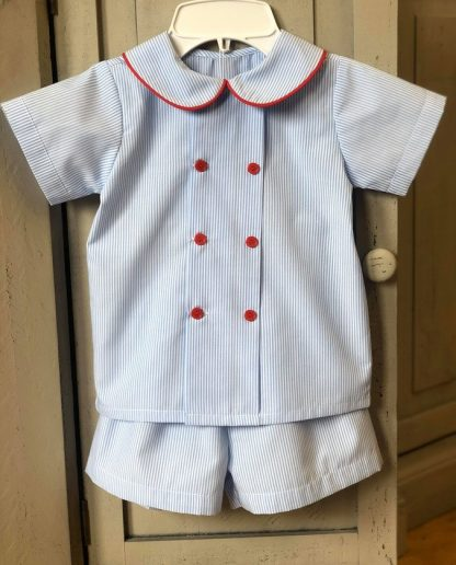 Light blue pinstripe double breasted short set with red piping and buttons. So traditional and perfect for portraits, weddings, or any special occasion!