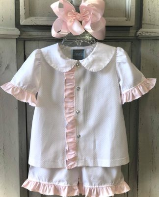 """This is one of the sweetest loungewear sets we've ever had! The white and light pink polka dot fabric is 100% cotton and is trimmed with a light pink ruffle and white tatting. This short set is perfect to sleep in or lounge in but is not flame retardant. By """"Honesty""""."""