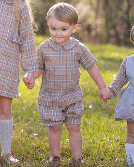 """Plaid short set in the colors of tan, maroon, and gray. Very traditional and perfect for Fall pictures when trying to coordinate with others! By """"The Oaks Apparel""""."""