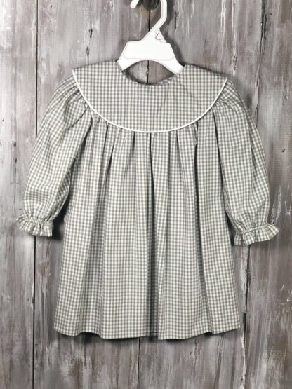 """Handmade """"Patsy"""" dress in gray 100% cotton gingham trimmed in white piping. Perfect for monogramming!"""