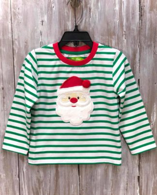 """Kelly green and white striped knit shirt trimmed in red with an applique' of Santa's face by """"Be Mine""""."""