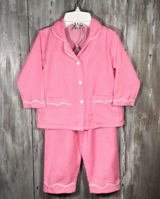 """Soft hot pink and white polka dot pajamas are so sweet and traditional! She will want to live in them! By """"Sweet Dreams""""."""