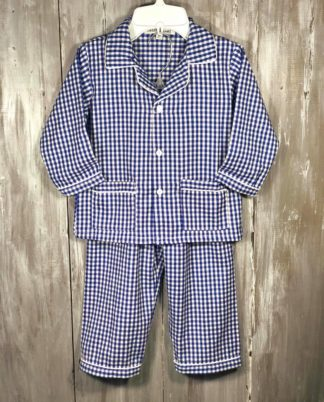 """Royal and white gingham pajama set by """"Sweet Dreams"""". Flame retardant for your child's safety."""