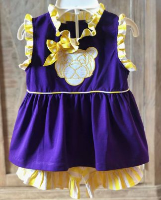 """Purple and yellow striped knit set with a tiger face applique' by """"Banana Split""""."""