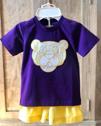 """Purple knit t-shirt with a tiger applique' and coordinating yellow gingham shorts by """"Banana Split""""."""