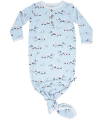 """This sweet gown is made from bamboo and is so soft! The colors are the prettiest pale blue and gray and the opening at the bottom is tied in a knot to help the baby's feet stay warm and cozy! By """"Sweet Bamboo""""."""