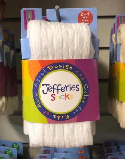 """Soft cable knit tights with feet in white by """"Jefferies""""."""