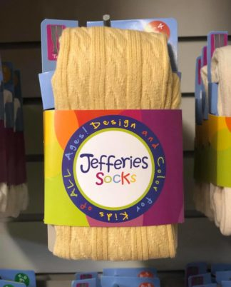"""Soft cable knit tight with feet in a jewel toned honey gold by """"Jefferies""""."""