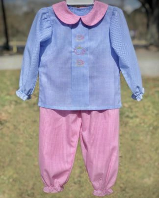 """Blue and pink gingham pant set with an embroidered tea set on the shirt by """"Baby Sen by Remember Nguyen""""."""